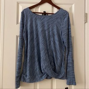 NWT BCX Sky Blue  Space Dye Rib Knit Long Sleeve